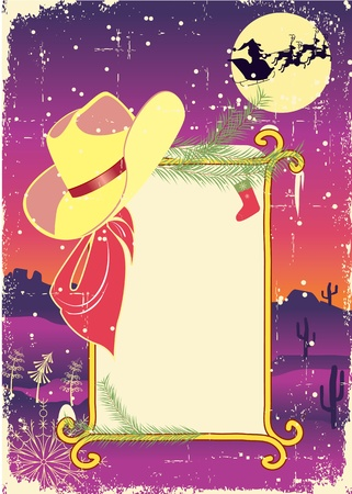 Billboard frame with cowboy hat.Retro christmas background for text. Stock Vector - 11057417