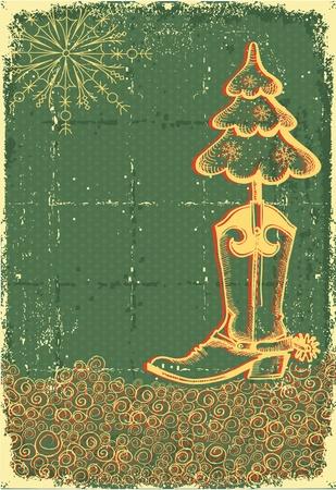 아메리: 텍스트 오래된 서류상 질감에 카우보이 부츠와 전나무 트리 빈티지 크리스마스 녹색 카드