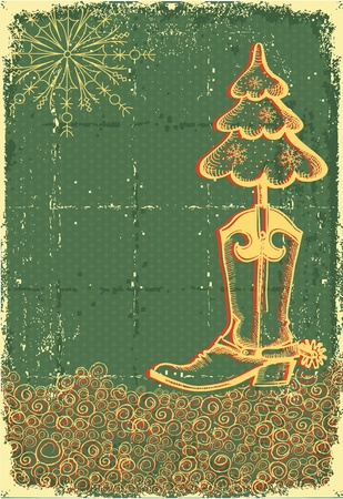 southwest: Vintage christmas green card with cowboy boot and fir-tree on old papaer texture for text