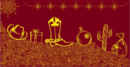 Cowboy christmas card with holiday elements and decoration Vector