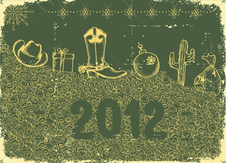 Cowboy christmas card with holiday elements and decoration on old paper green texture Vector