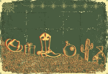 southwest: Cowboy christmas card with holiday elements and decoration on old paper texture