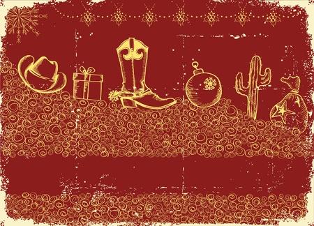 botas de navidad: Cowboy tarjeta de Navidad con elementos de fiesta y decoración de la textura del papel antiguo Vectores
