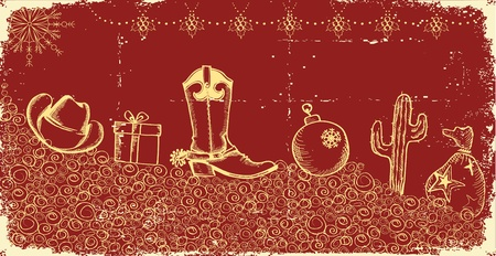 Cowboy christmas card with holiday elements and decoration on old paper texture Vector