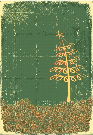 christmas accessories: Cowboy christmas card with holiday elements and decoration on old paper texture