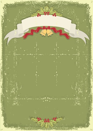 Vintage christmas card with scroll and text celebration on old paper texture