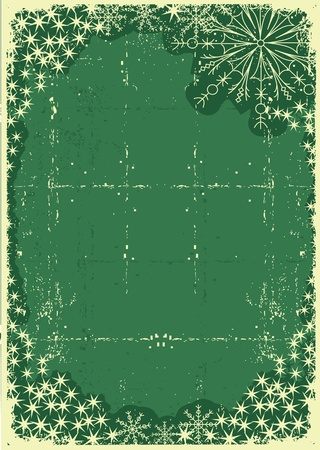 Vintage green christmas card for text or design on old paper Vector