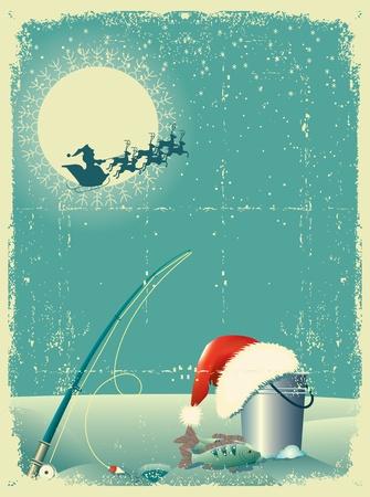 polo: pesca en el paisaje de nieve en invierno con Santa sombrero rojo de la tarjeta antigua texture.Vintage papel