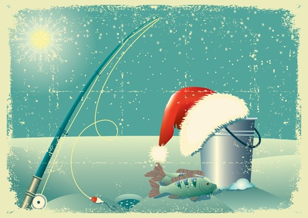ice fishing: pesca en el paisaje de nieve en invierno con Santa sombrero rojo de la tarjeta antigua texture.Vintage papel
