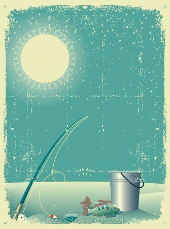 ice fishing: pesca en el paisaje de nieve en invierno en la tarjeta antigua texture.Vintage papel
