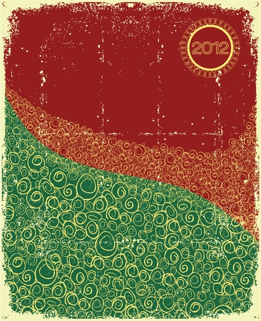 Christmas background with abstract  snow on old paper texture.Vintage card Vector