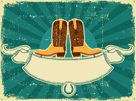 boots: Cowboy boots card on old paper .Vintage background for text