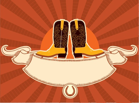 Cowboy shoes with scroll for text Vector