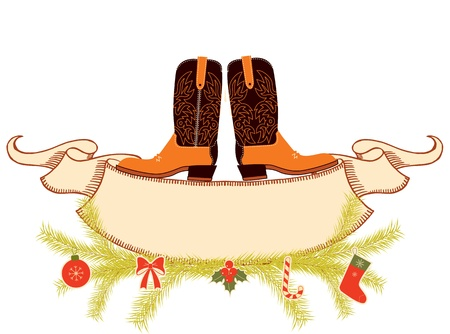western wear: Cowboy boots and scroll for text on white Illustration