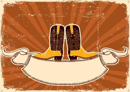 ranching: Cowboy boots.Background con elementos grunge de la textura de papel viejo para el texto