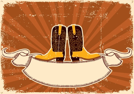 Cowboy boots.Background with grunge elements on old paper texture for text Vector