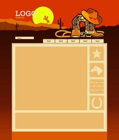 web site background: Editable Website template background with cowboys elements for text