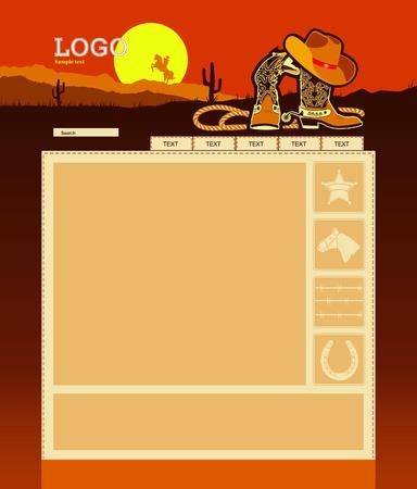siti web: Modificabile del modello sfondo del sito web con elementi cowboy per il testo
