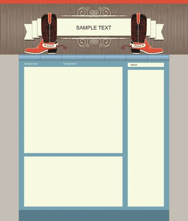 Editable Website template background with cowboy Vector