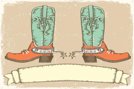 botas vaqueras: Botas de vaquero y de desplazamiento de texto en papel viejo. Estilo Vintage Vectores