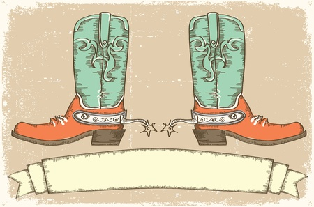 old cowboy: Cowboy boots and scroll for text on old paper .Vintage style Illustration