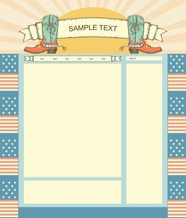 Editable Website template background with cowboy boots for text Vector