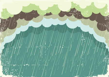raining: Illustration of raining clouds on old paper texture.Vintage background