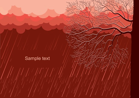 Raining nature landscape with tree in evening.Vector illustration background Stock Vector - 11864861