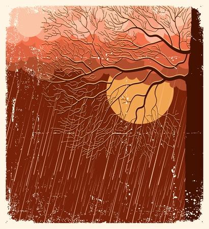 dark cloud: Lloviendo, naturaleza, paisaje con �rboles en la ilustraci�n de fondo evening.Vector en papel antiguo