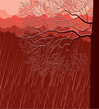 raining: Raining nature landscape with tree in evening.Vector illustration background