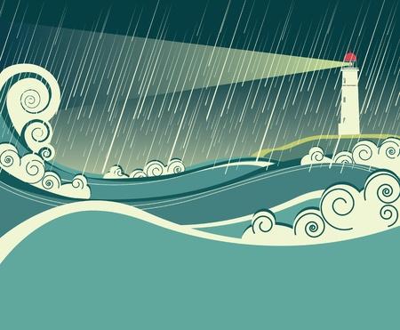Ilustración vectorial de faro marino en la noche lloviendo