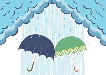 Illustration of raining clouds and two umbrellas Vector
