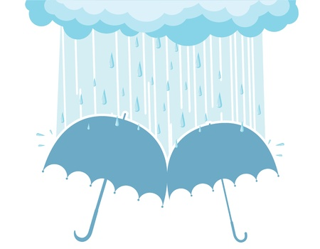 Illustration of raining clouds and two umbrellas