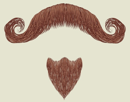 fake mustaches: Mustache and beard isolated for design Illustration