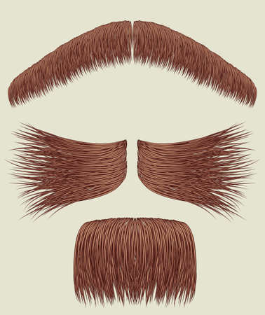 Mustaches for man.Vector collection on white for design Vector