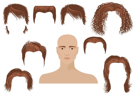 hair style set: Hairstyle.Man face and set of haircuts isolated on white for design