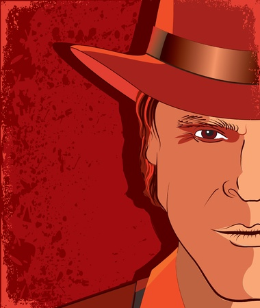 Vector portrair of strong man .Red poster background  Vector