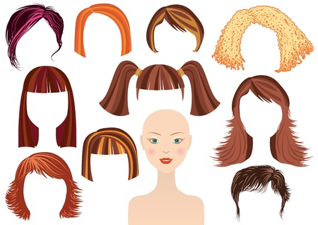 cartoon hairdresser: Hairstyle.Woman face and set of haircuts isolated on white fordesign Illustration
