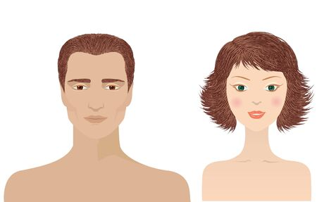 Man and woman portraits  isolated on white for design  Vector