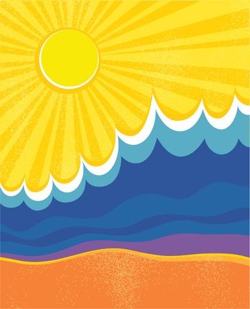 art painting: Sea waves poster. Vector illustration of sea landscape. Illustration