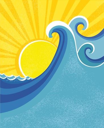 rippled: Onde del mare poster. Illustrazione vettoriale di paesaggio marino.
