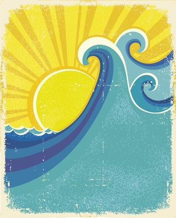 Sea waves poster. Vintage illustration of sea landscape on old paper texture Vector