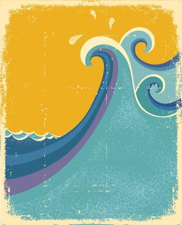 surfing waves: Sea waves poster. Vintage symbol of blue sea waves on old paper texture Illustration