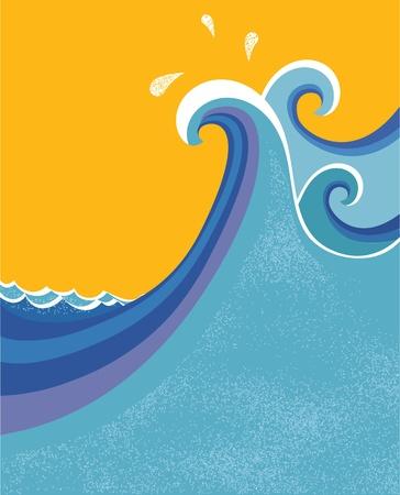 Sea waves poster. illustration of sea landscape. Vector