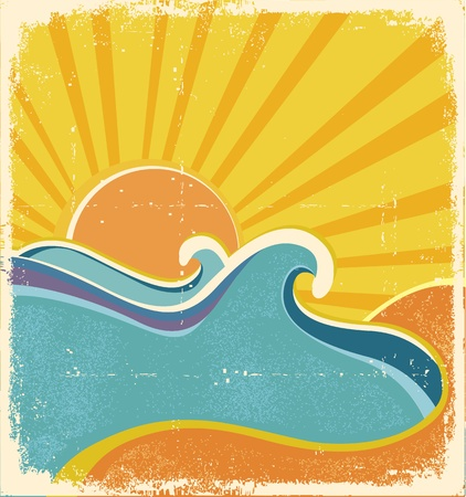 Sea waves poster. illustration of sea landscape in hot summer day Vector