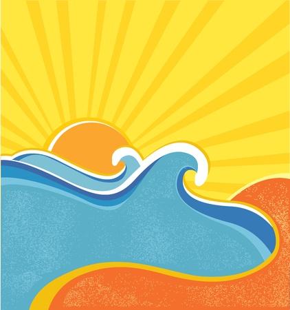 Sea waves poster. illustration of sea landscape in hot summer day Vector