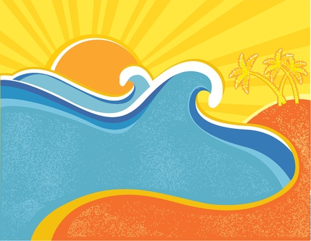Sea waves poster with palms. illustration of sea landscape in hot summer day Vector