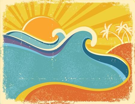 海浪海报与棕榈树。海风景的葡萄酒例证在老纸纹理的炎热的天