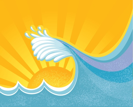 Sea big wave illustration of sea landscape with yellow sun Vector