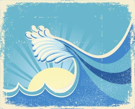 granola: Mar de olas grandes. Ilustraci�n de la vendimia paisaje del mar con el sol
